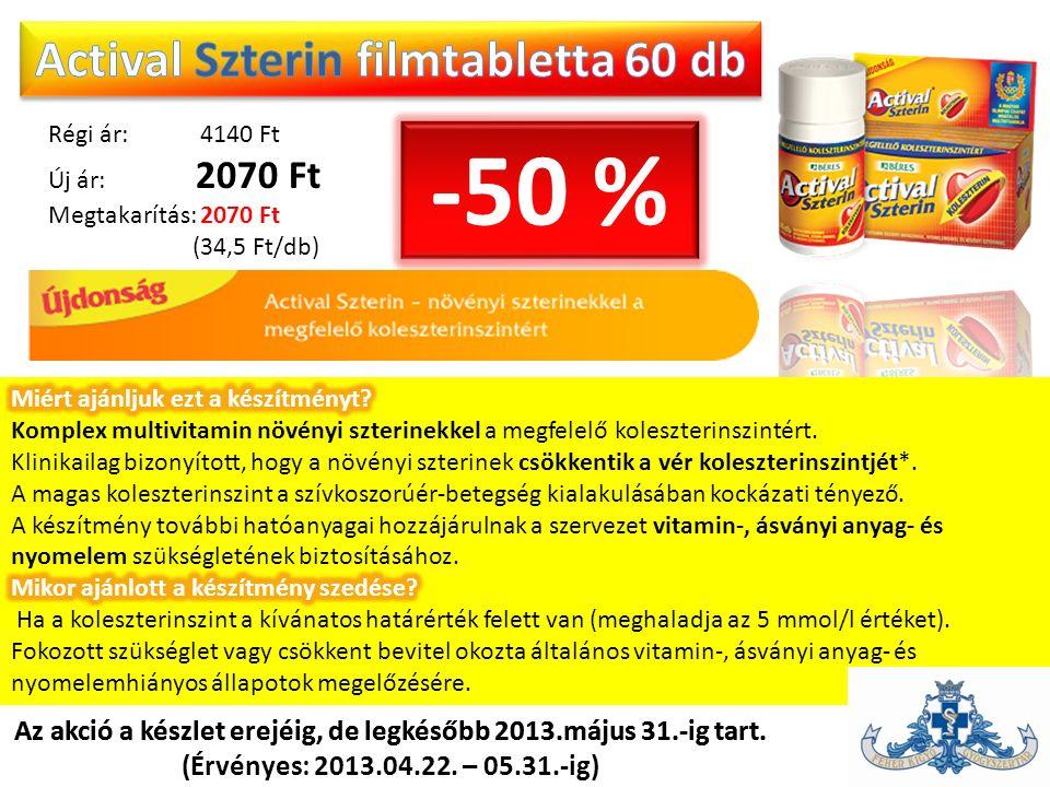 Régi ár: 4140 Ft Új ár: 2070 Ft Megtakarítás: 2070 Ft (34,5 Ft/db) Az akció a készlet erejéig, de legkésőbb 2013.május 31.-ig tart. (Érvényes: 2013.04