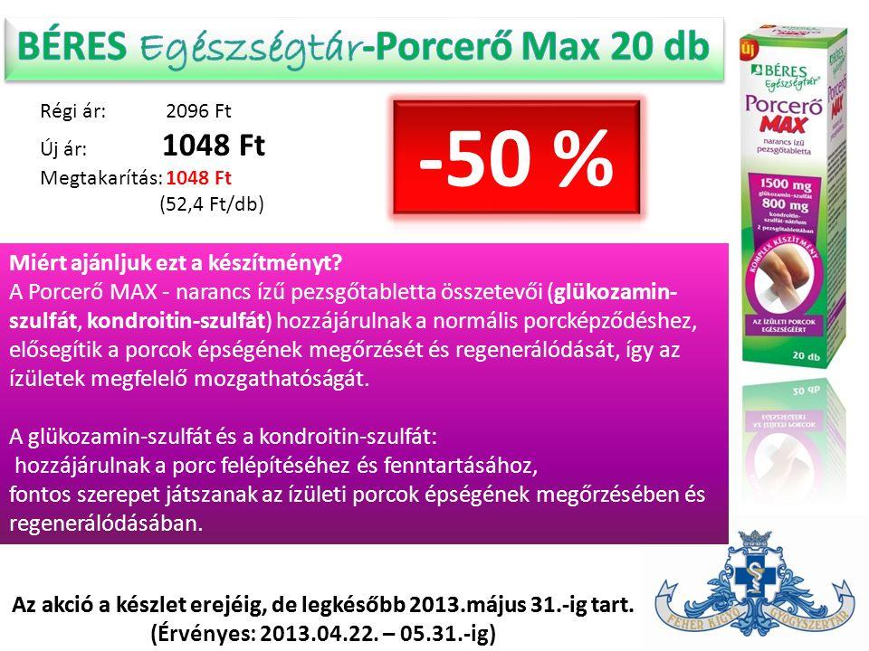 Régi ár: 2096 Ft Új ár: 1048 Ft Megtakarítás: 1048 Ft (52,4 Ft/db) Az akció a készlet erejéig, de legkésőbb 2013.május 31.-ig tart. (Érvényes: 2013.04