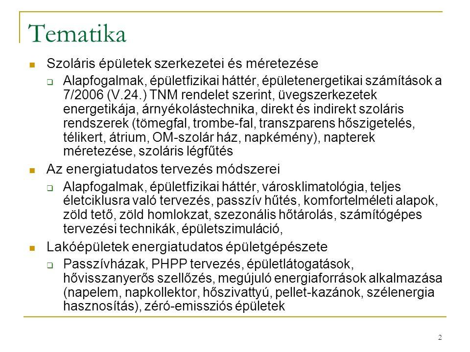 2 Tematika Szoláris épületek szerkezetei és méretezése  Alapfogalmak, épületfizikai háttér, épületenergetikai számítások a 7/2006 (V.24.) TNM rendele