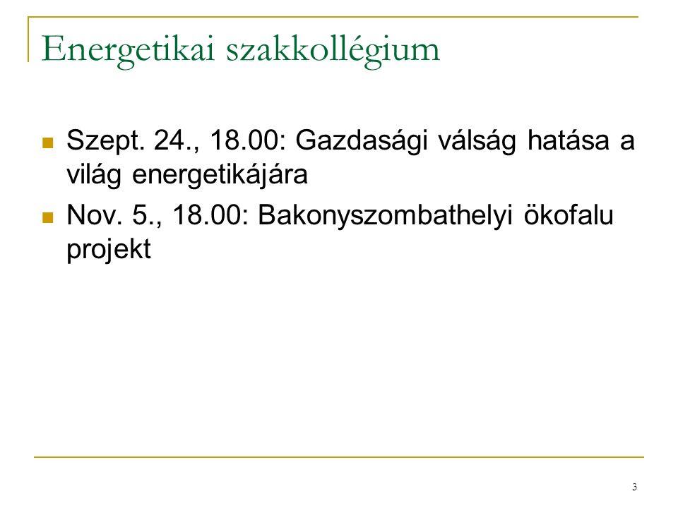 3 Energetikai szakkollégium Szept. 24., 18.00: Gazdasági válság hatása a világ energetikájára Nov. 5., 18.00: Bakonyszombathelyi ökofalu projekt