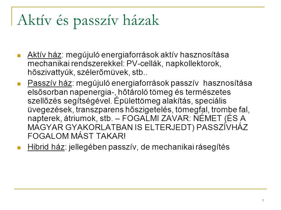 7 Aktív és passzív házak Aktív ház: megújuló energiaforrások aktív hasznosítása mechanikai rendszerekkel: PV-cellák, napkollektorok, hőszivattyúk, szé