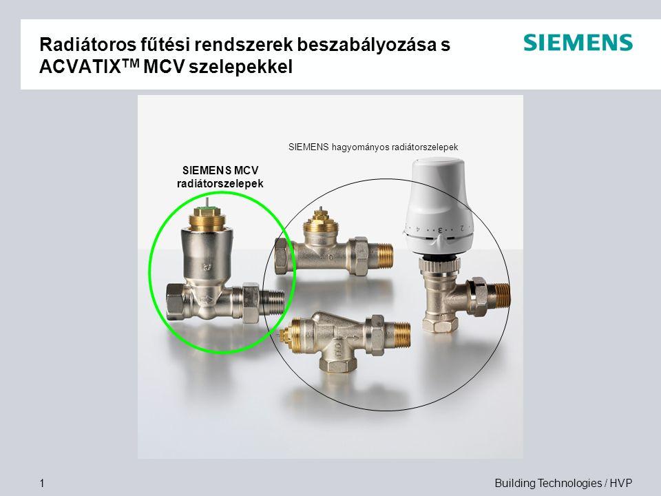 Building Technologies / HVP1 Radiátoros fűtési rendszerek beszabályozása s ACVATIX TM MCV szelepekkel SIEMENS hagyományos radiátorszelepek SIEMENS MCV