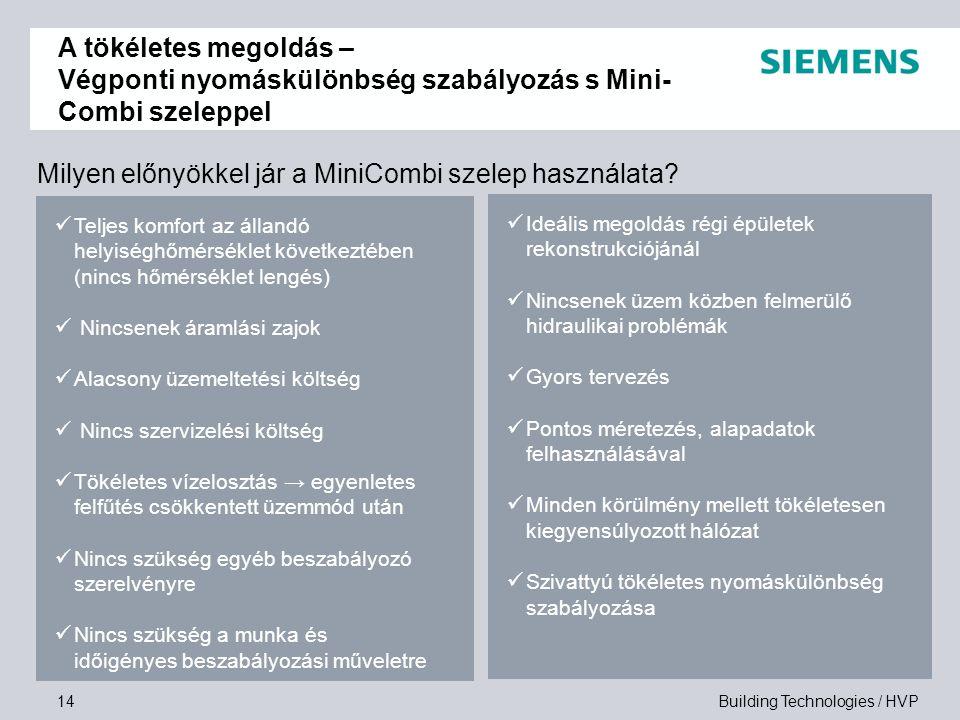 Building Technologies / HVP14 Milyen előnyökkel jár a MiniCombi szelep használata? Teljes komfort az állandó helyiséghőmérséklet következtében (nincs