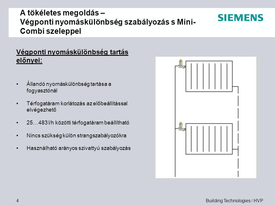 Building Technologies / HVP5 Automatikus szabályozó szelep VPE…, VPD…:  Automatikus térfogatáram korlátozás változó működési feltételek mellett  Hidraulikus beszabályozás nem szükséges  Minden egyéb beszabályozó elem elhagyható  Beépített előbeállítás  DIN és NF szabvány szerinti méretben  DN 10 és DN 15 méretben  Szabályozott nyomáskülönbség 5kPa és 10kPa  25…483 l/h térfogatáramig A tökéletes megoldás – Végponti nyomáskülönbség szabályozás s Mini- Combi szeleppel