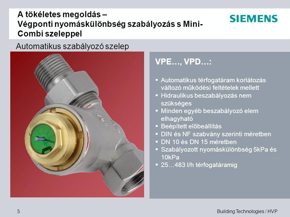 Building Technologies / HVP6 Szelep-meghajtó kombinációk A tökéletes megoldás – Végponti nyomáskülönbség szabályozás s Mini- Combi szeleppel