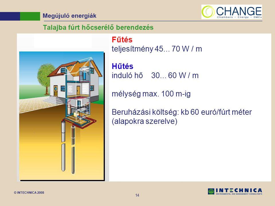 © INTECHNICA 2008 14 Talajba fúrt hőcserélő berendezés Megújuló energiák Fűtés teljesítmény 45... 70 W / m Hűtés induló hő 30... 60 W / m mélység max.