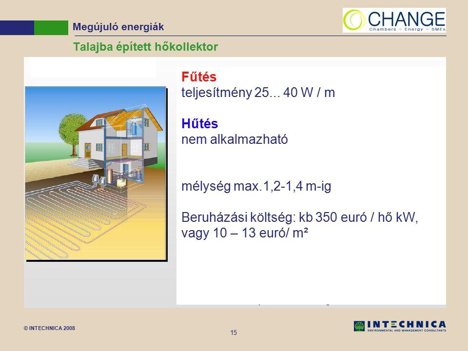 © INTECHNICA 2008 15 Talajba épített hőkollektor Megújuló energiák Fűtés teljesítmény 25... 40 W / m Hűtés nem alkalmazható mélység max.1,2-1,4 m-ig B