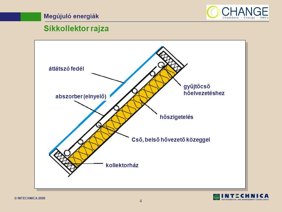 © INTECHNICA 2008 4 Síkkollektor rajza Cső, belső hővezető közeggel hőszigetelés kollektorház átlátszó fedél abszorber (elnyelő) gyűjtőcső hőelvezetéshez Megújuló energiák