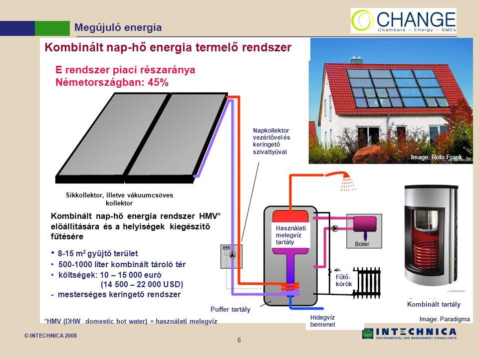 © INTECHNICA 2008 6 Megújuló energia *HMV (DHW domestic hot water) = használati melegvíz Kombinált nap-hő energia termelő rendszer E rendszer piaci részaránya Németországban: 45% Síkkollektor, illetve vákuumcsöves kollektor Napkollektor vezérlővel és keringető szivattyúval Használati melegvíz tartály Fűtő- körök Hidegvíz bemenet Puffer tartály Kombinált tartály Kombinált nap-hő energia rendszer HMV* előállítására és a helyiségek kiegészítő fűtésére 8-15 m 2 gyűjtő terület 500-1000 liter kombinált tároló tér költségek: 10 – 15 000 euró (14 500 – 22 000 USD) - mesterséges keringető rendszer