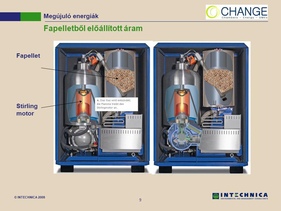 © INTECHNICA 2008 9 Fapelletből előállított áram Megújuló energiák Fapellet Stirling motor