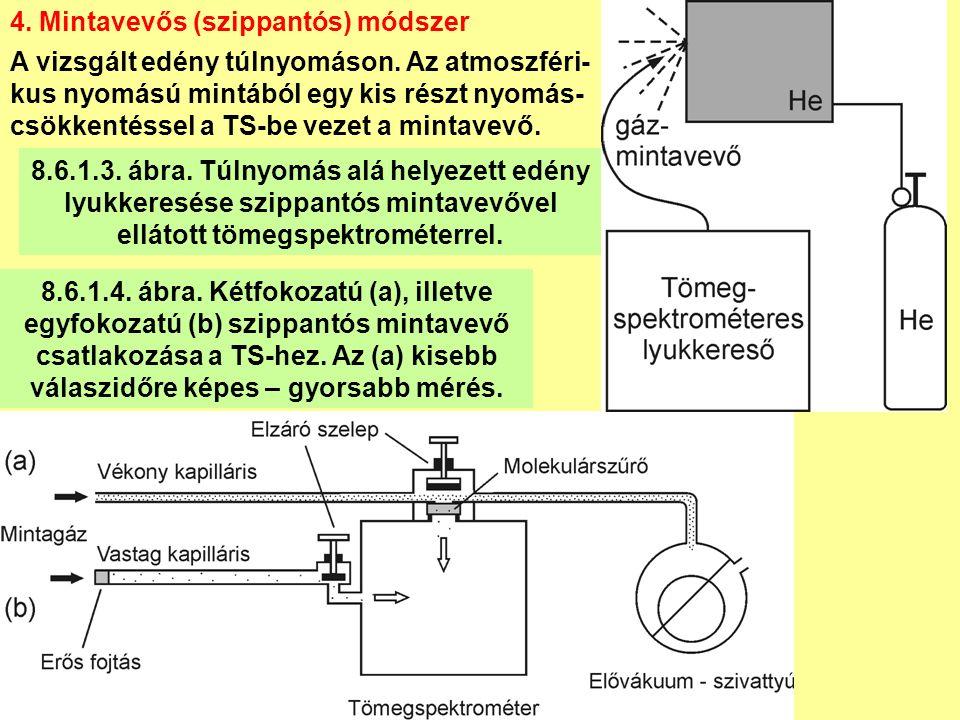 8.6.1.3. ábra. Túlnyomás alá helyezett edény lyukkeresése szippantós mintavevővel ellátott tömegspektrométerrel. 4. Mintavevős (szippantós) módszer A