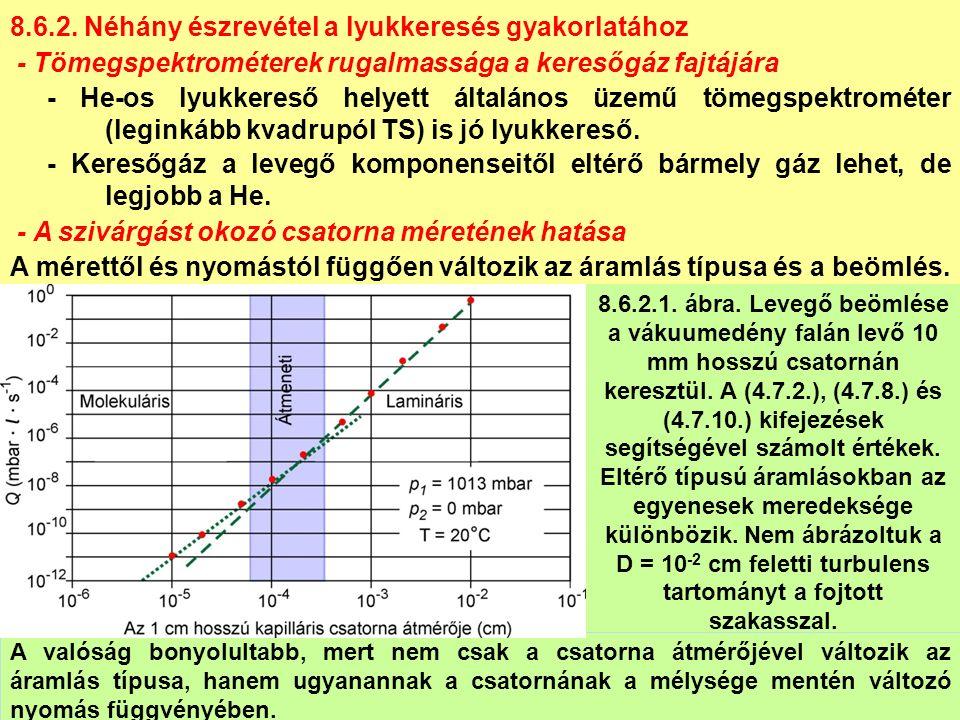 8.6.2. Néhány észrevétel a lyukkeresés gyakorlatához - Tömegspektrométerek rugalmassága a keresőgáz fajtájára - He-os lyukkereső helyett általános üze