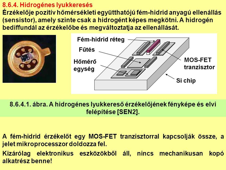 8.6.4. Hidrogénes lyukkeresés Érzékelője pozitív hőmérsékleti együtthatójú fém-hidrid anyagú ellenállás (sensistor), amely szinte csak a hidrogént kép
