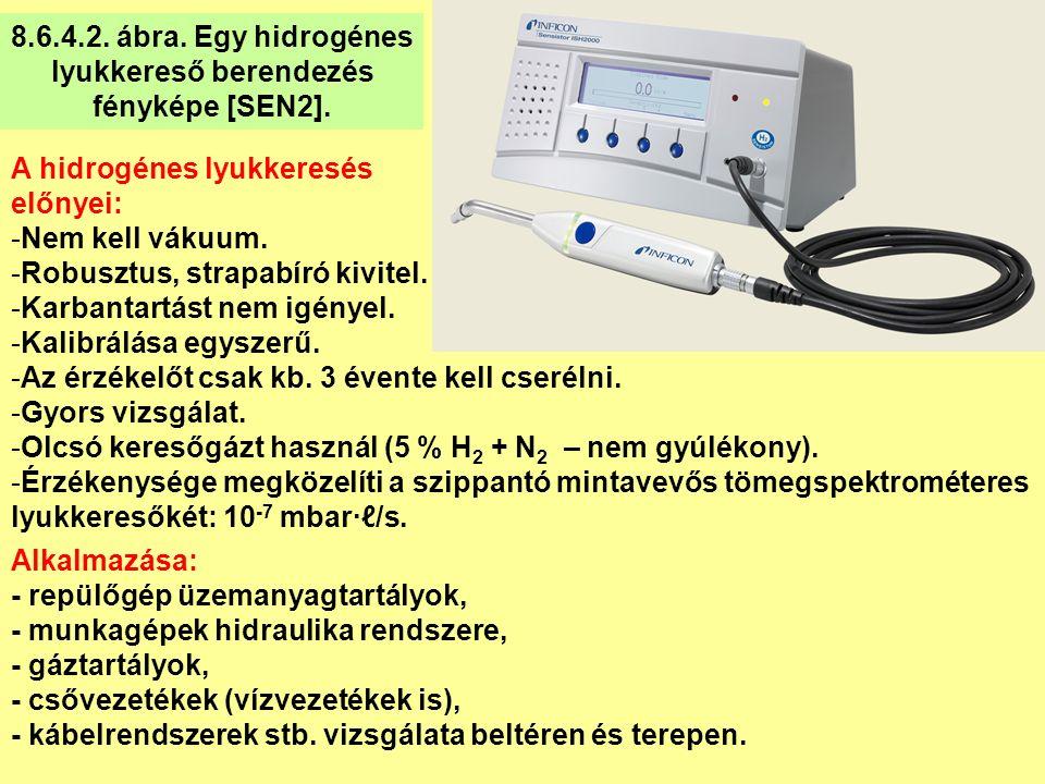 A hidrogénes lyukkeresés előnyei: -Nem kell vákuum. -Robusztus, strapabíró kivitel. -Karbantartást nem igényel. -Kalibrálása egyszerű. -Az érzékelőt c