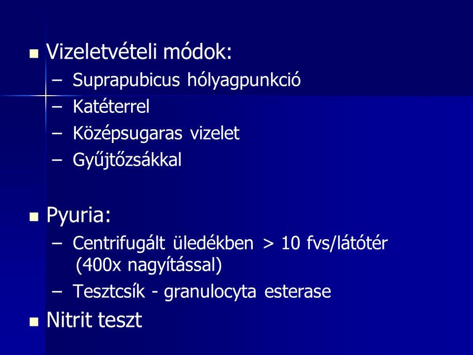 Vizeletvételi módok: – – Suprapubicus hólyagpunkció – – Katéterrel – – Középsugaras vizelet – – Gyűjtőzsákkal Pyuria: – – Centrifugált üledékben > 10 fvs/látótér (400x nagyítással) – – Tesztcsík - granulocyta esterase Nitrit teszt
