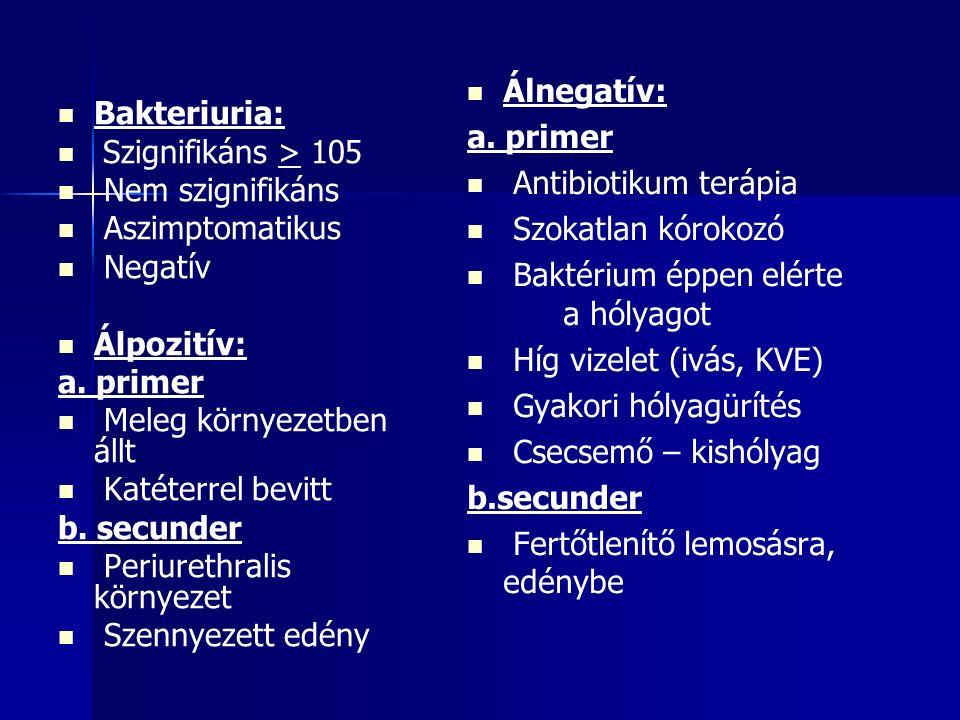 Bakteriuria: Szignifikáns > 105 Nem szignifikáns Aszimptomatikus Negatív Álpozitív: a.