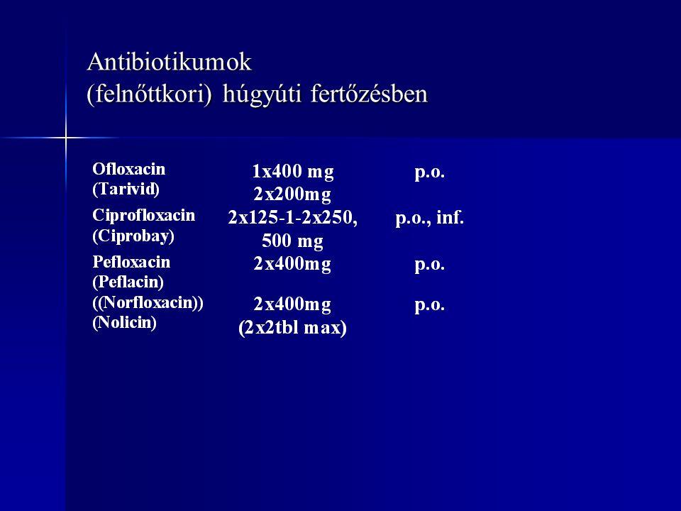 Antibiotikumok (felnőttkori) húgyúti fertőzésben