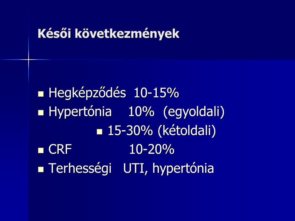 Késői következmények Hegképződés 10-15% Hegképződés 10-15% Hypertónia 10% (egyoldali) Hypertónia 10% (egyoldali) 15-30% (kétoldali) 15-30% (kétoldali) CRF 10-20% CRF 10-20% Terhességi UTI, hypertónia Terhességi UTI, hypertónia