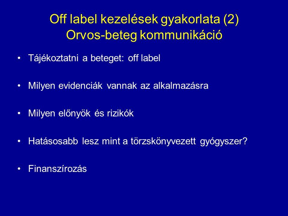 Off label kezelések gyakorlata (2) Orvos-beteg kommunikáció Tájékoztatni a beteget: off label Milyen evidenciák vannak az alkalmazásra Milyen előnyök