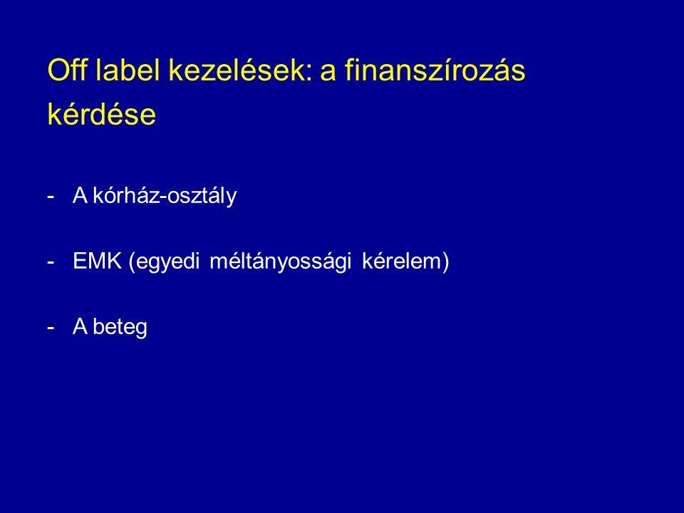 Off label kezelések: a finanszírozás kérdése -A kórház-osztály -EMK (egyedi méltányossági kérelem) -A beteg