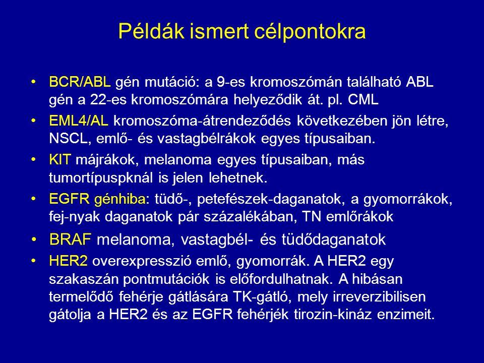 Példák ismert célpontokra BCR/ABL gén mutáció: a 9-es kromoszómán található ABL gén a 22-es kromoszómára helyeződik át. pl. CML EML4/AL kromoszóma-átr