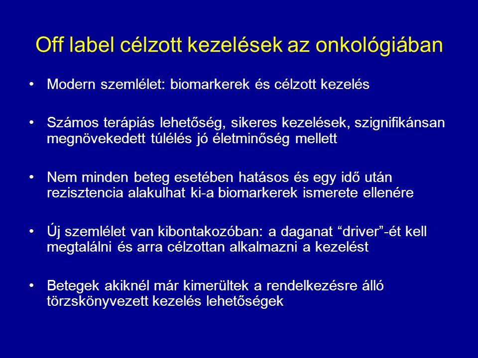 Off label célzott kezelések az onkológiában Modern szemlélet: biomarkerek és célzott kezelés Számos terápiás lehetőség, sikeres kezelések, szignifikán