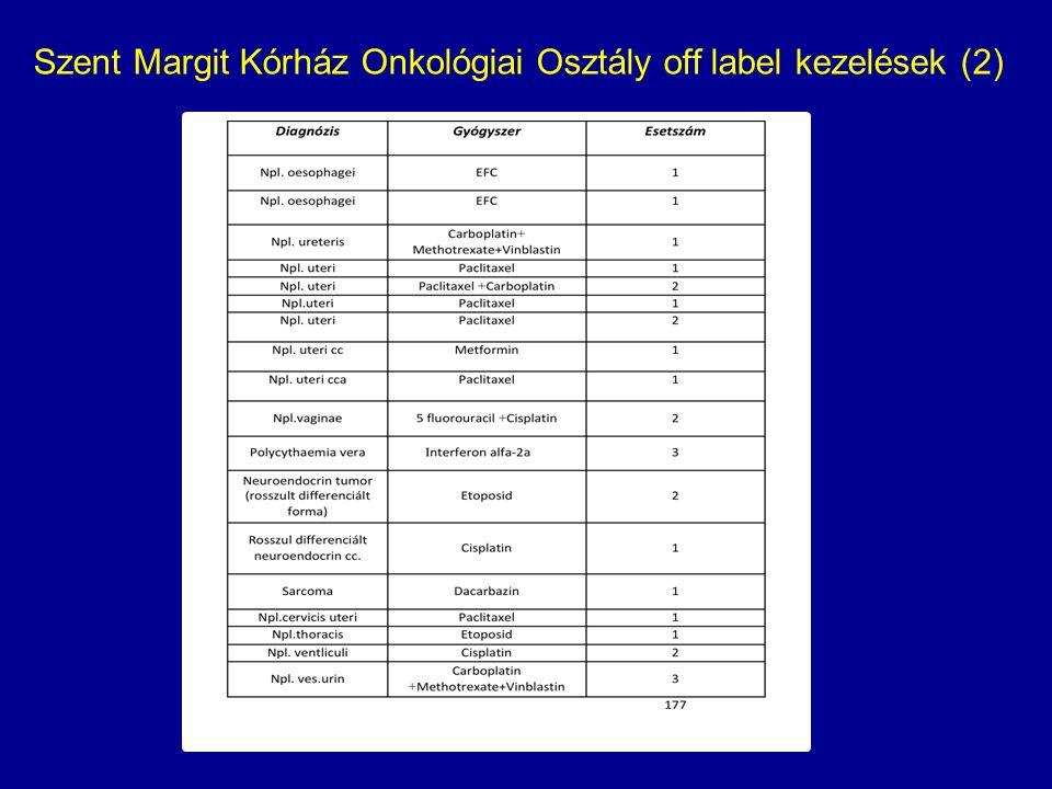 Szent Margit Kórház Onkológiai Osztály off label kezelések (2)