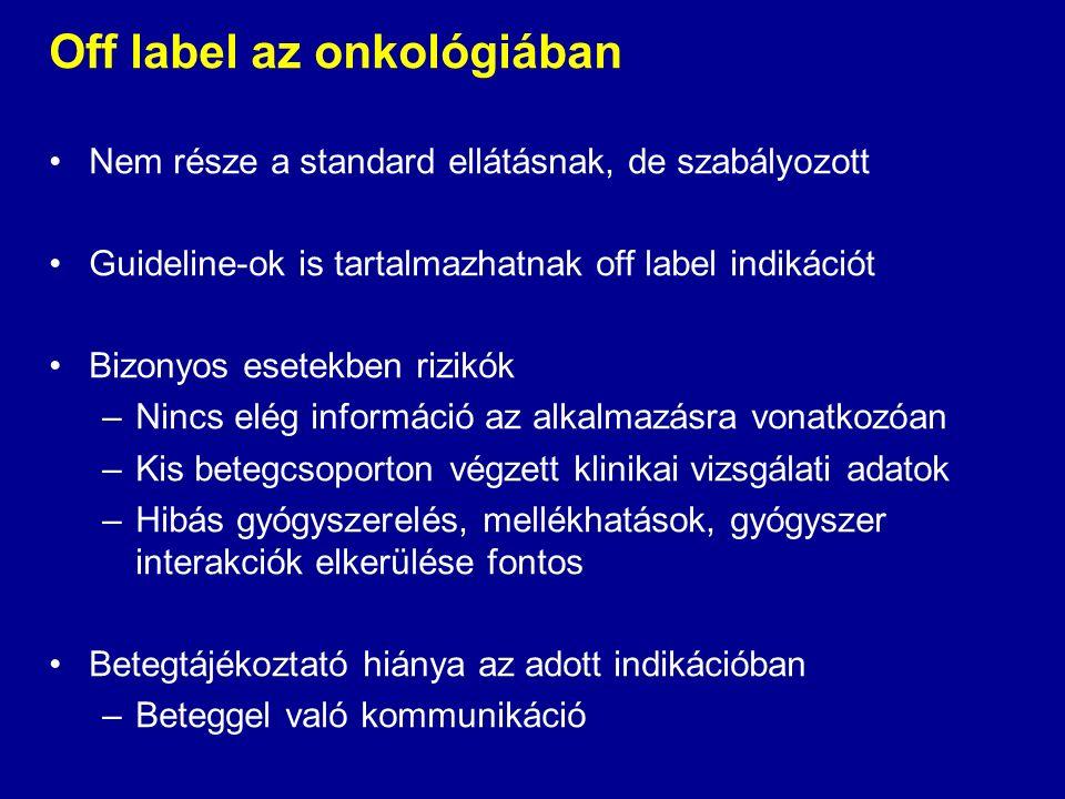 Off label az onkológiában Nem része a standard ellátásnak, de szabályozott Guideline-ok is tartalmazhatnak off label indikációt Bizonyos esetekben rizikók –Nincs elég információ az alkalmazásra vonatkozóan –Kis betegcsoporton végzett klinikai vizsgálati adatok –Hibás gyógyszerelés, mellékhatások, gyógyszer interakciók elkerülése fontos Betegtájékoztató hiánya az adott indikációban –Beteggel való kommunikáció