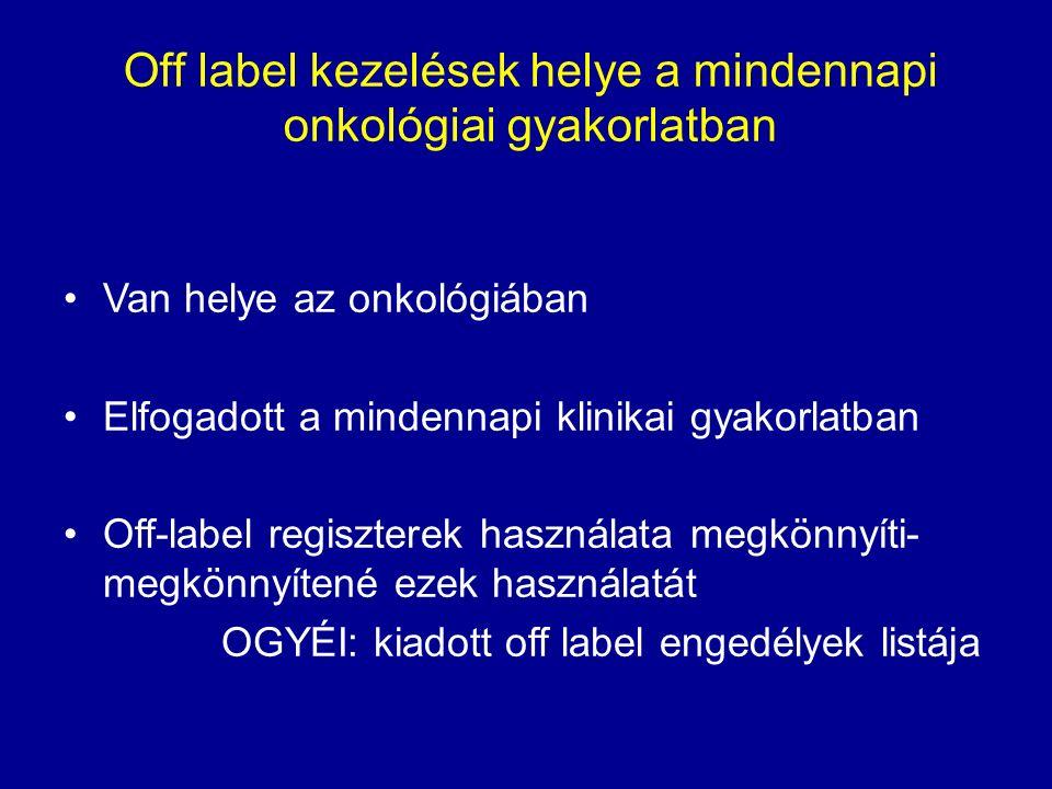 Off label kezelések helye a mindennapi onkológiai gyakorlatban Van helye az onkológiában Elfogadott a mindennapi klinikai gyakorlatban Off-label regiszterek használata megkönnyíti- megkönnyítené ezek használatát OGYÉI: kiadott off label engedélyek listája