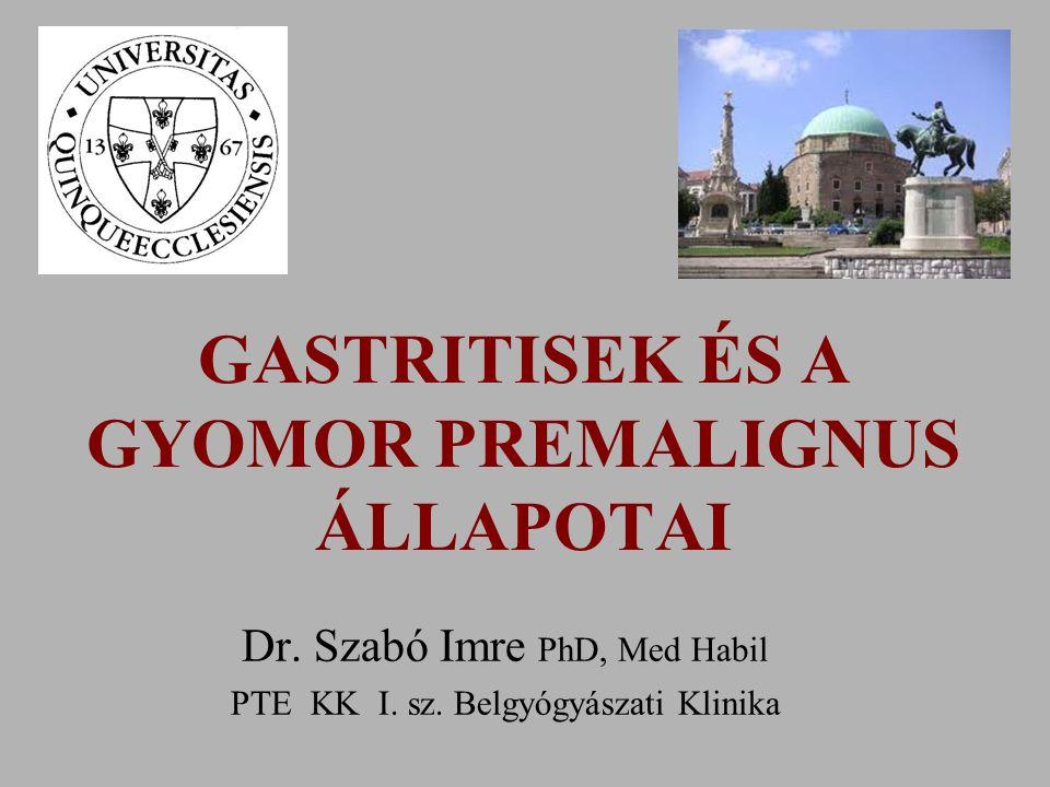 GASTRITISEK ÉS A GYOMOR PREMALIGNUS ÁLLAPOTAI Dr.Szabó Imre PhD, Med Habil PTE KK I.