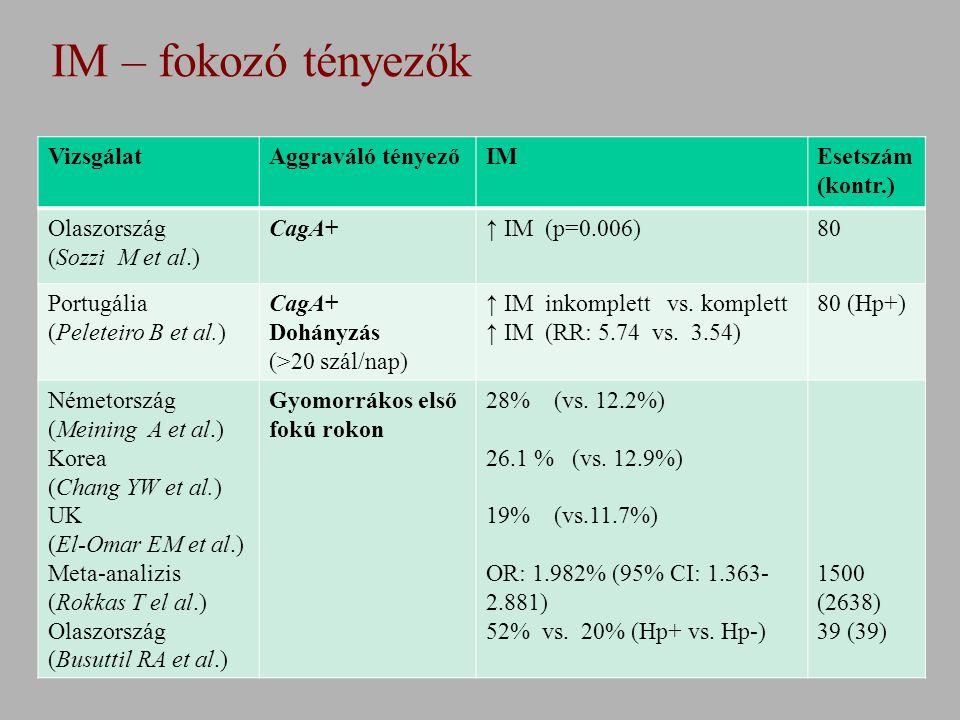 IM – fokozó tényezők VizsgálatAggraváló tényezőIMEsetszám (kontr.) Olaszország (Sozzi M et al.) CagA+↑ IM (p=0.006)80 Portugália (Peleteiro B et al.) CagA+ Dohányzás (>20 szál/nap) ↑ IM inkomplett vs.