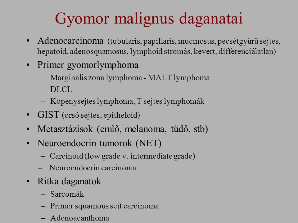 Gyomorpolypok - természetes lefolyás Nincs dysplasia Low grade intraepithelialis neoplasma High-grade intraepithelialis neoplasma Infiltrativ carcinoma 14-58% stabilizálódik 5 év 3 hónap - 2 év 38-75% 15% 16% .