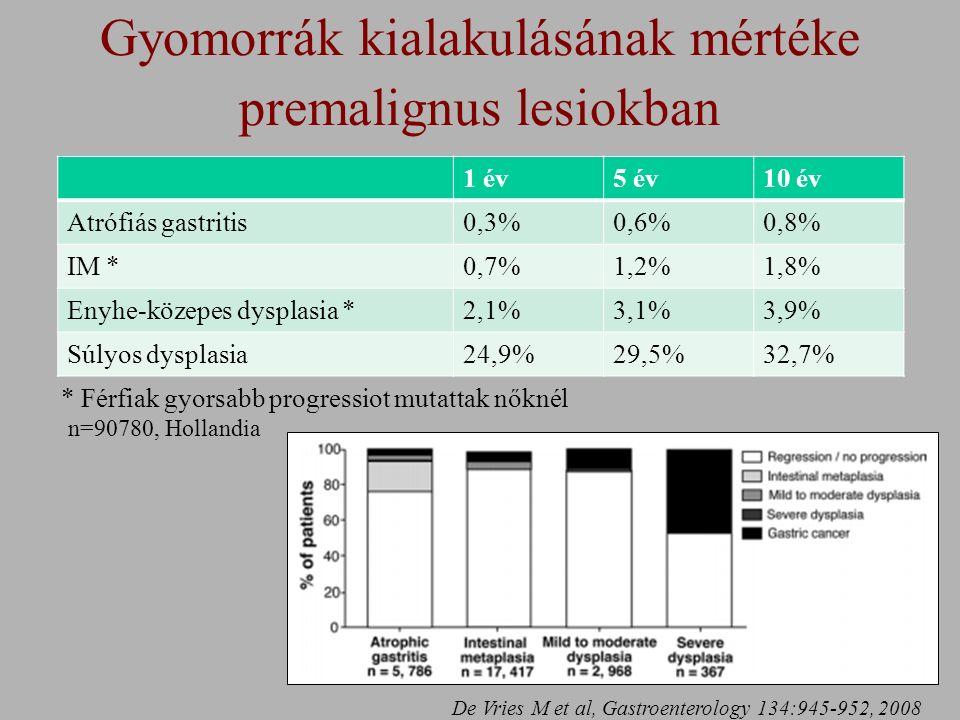 Gyomorrák kialakulásának mértéke premalignus lesiokban n=90780, Hollandia 1 év5 év10 év Atrófiás gastritis0,3%0,6%0,8% IM *0,7%1,2%1,8% Enyhe-közepes dysplasia *2,1%3,1%3,9% Súlyos dysplasia24,9%29,5%32,7% * Férfiak gyorsabb progressiot mutattak nőknél De Vries M et al, Gastroenterology 134:945-952, 2008