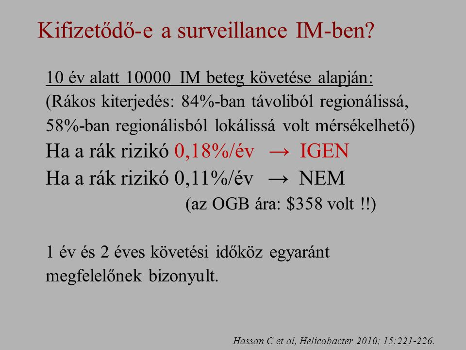 Kifizetődő-e a surveillance IM-ben.Hassan C et al, Helicobacter 2010; 15:221-226.