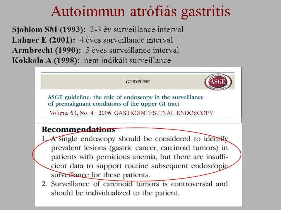 Volume 63, No. 4 : 2006 GASTROINTESTINAL ENDOSCOPY Autoimmun atrófiás gastritis Sjoblom SM (1993): 2-3 év surveillance interval Lahner E (2001): 4 éve
