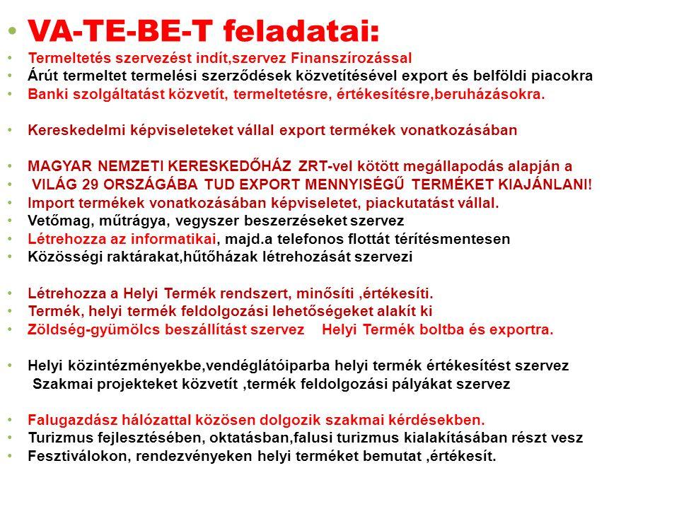 VA-TE-BE-T feladatai: Termeltetés szervezést indít,szervez Finanszírozással Árút termeltet termelési szerződések közvetítésével export és belföldi piacokra Banki szolgáltatást közvetít, termeltetésre, értékesítésre,beruházásokra.