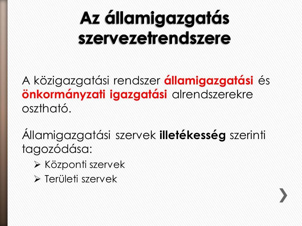A közigazgatási rendszer államigazgatási és önkormányzati igazgatási alrendszerekre osztható.