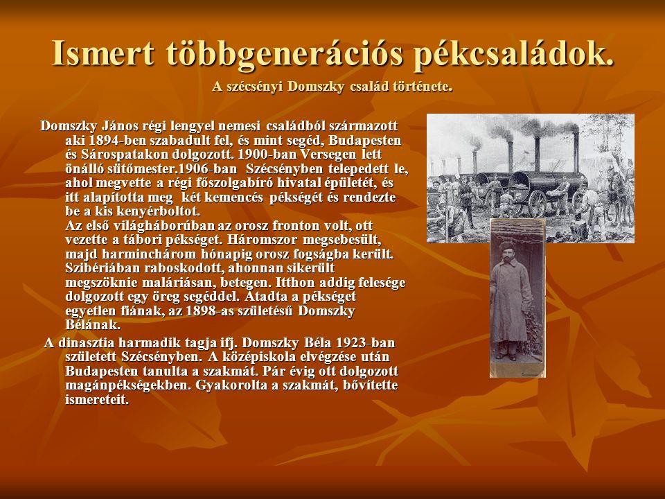 Ismert többgenerációs pékcsaládok. A szécsényi Domszky család története. Domszky János régi lengyel nemesi családból származott aki 1894-ben szabadult