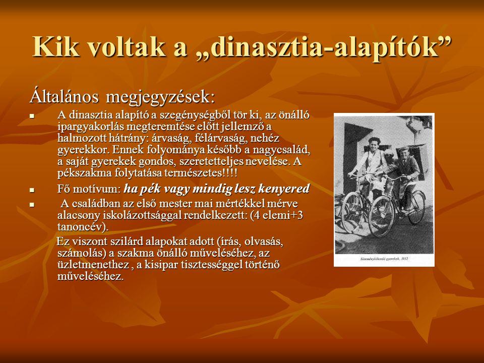 """Kik voltak a """"dinasztia-alapítók"""" Általános megjegyzések: A dinasztia alapító a szegénységből tör ki, az önálló ipargyakorlás megteremtése előtt jelle"""