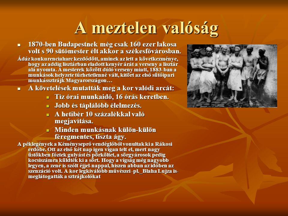 A meztelen valóság A meztelen valóság 1870-ben Budapestnek még csak 160 ezer lakosa volt s 90 sütőmester élt akkor a székesfővárosban. 1870-ben Budape