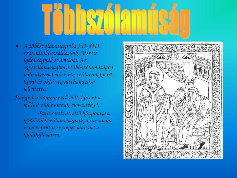 A többszólamúságról a XII-XIII. századtól beszélhetünk.