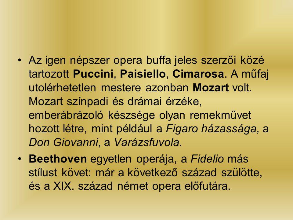 Az igen népszer opera buffa jeles szerzői közé tartozott Puccini, Paisiello, Cimarosa.