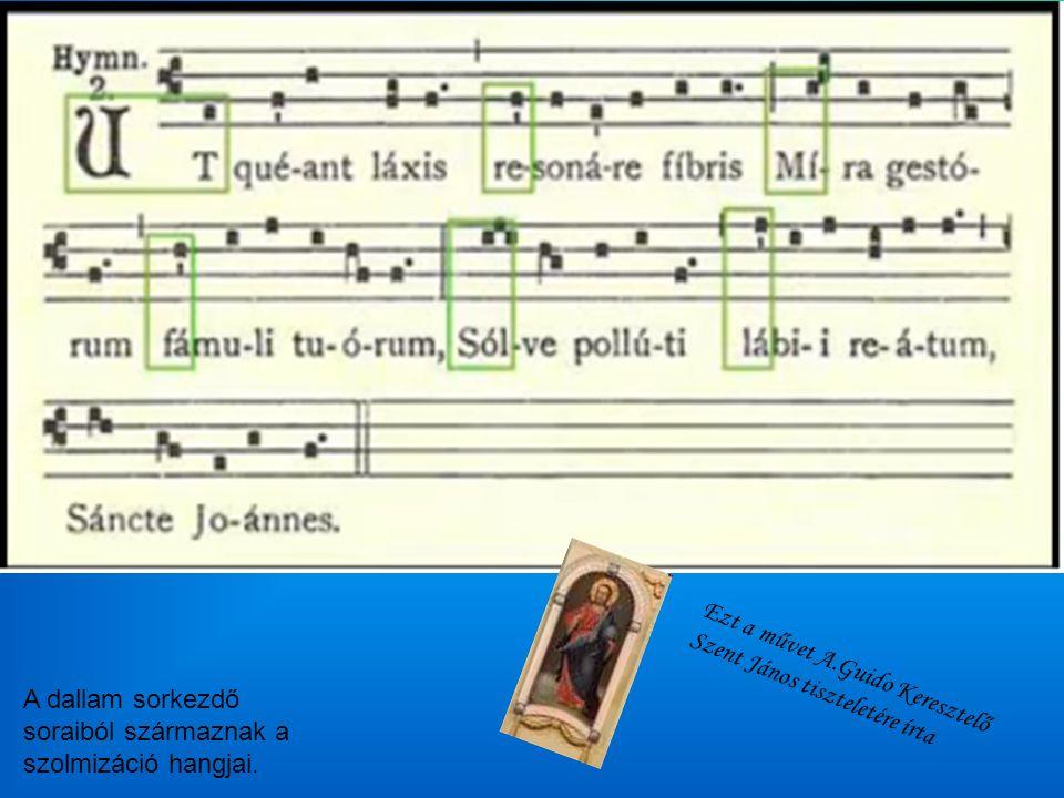 A dallam sorkezdő soraiból származnak a szolmizáció hangjai.