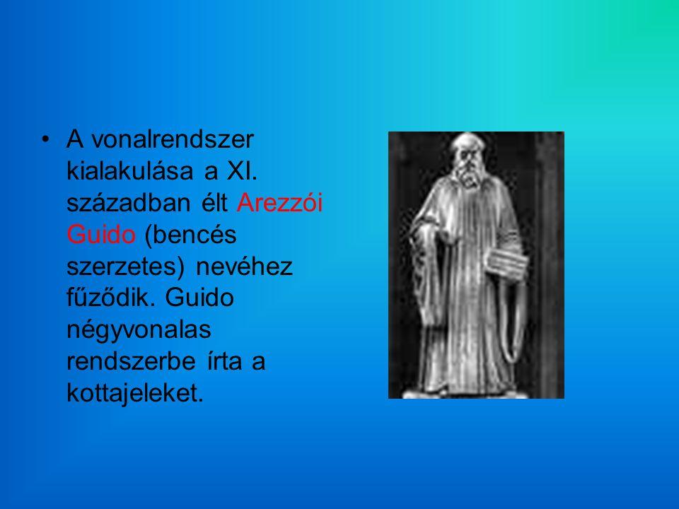 A vonalrendszer kialakulása a XI. században élt Arezzói Guido (bencés szerzetes) nevéhez fűződik.