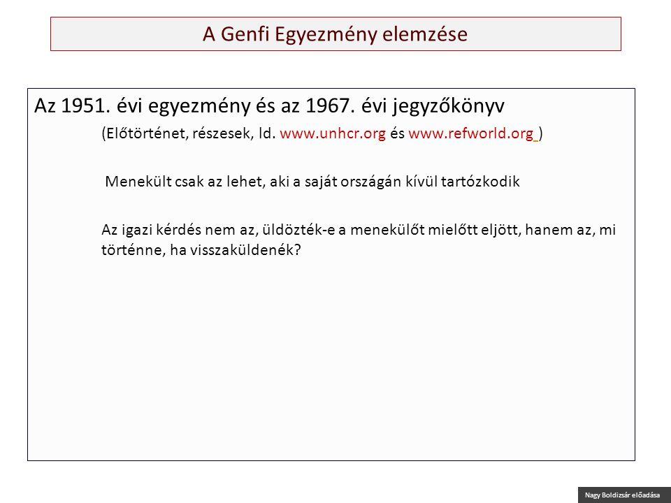 Nagy Boldizsár előadása A Genfi Egyezmény elemzése Az 1951. évi egyezmény és az 1967. évi jegyzőkönyv (Előtörténet, részesek, ld. www.unhcr.org és www
