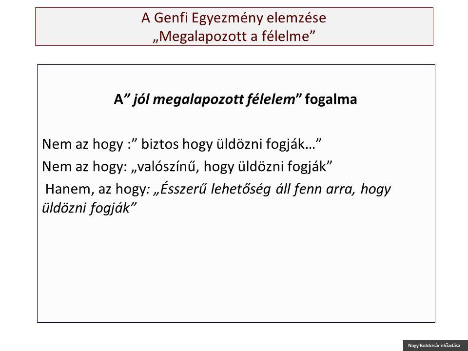 """Nagy Boldizsár előadása A Genfi Egyezmény elemzése """"Megalapozott a félelme"""" A"""" jól megalapozott félelem"""" fogalma Nem az hogy :"""" biztos hogy üldözni fo"""