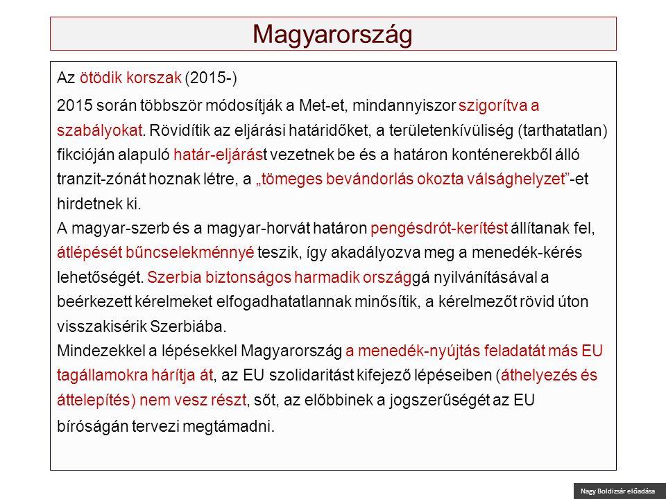 Nagy Boldizsár előadása Magyarország Az ötödik korszak (2015-) 2015 során többször módosítják a Met-et, mindannyiszor szigorítva a szabályokat. Rövidí