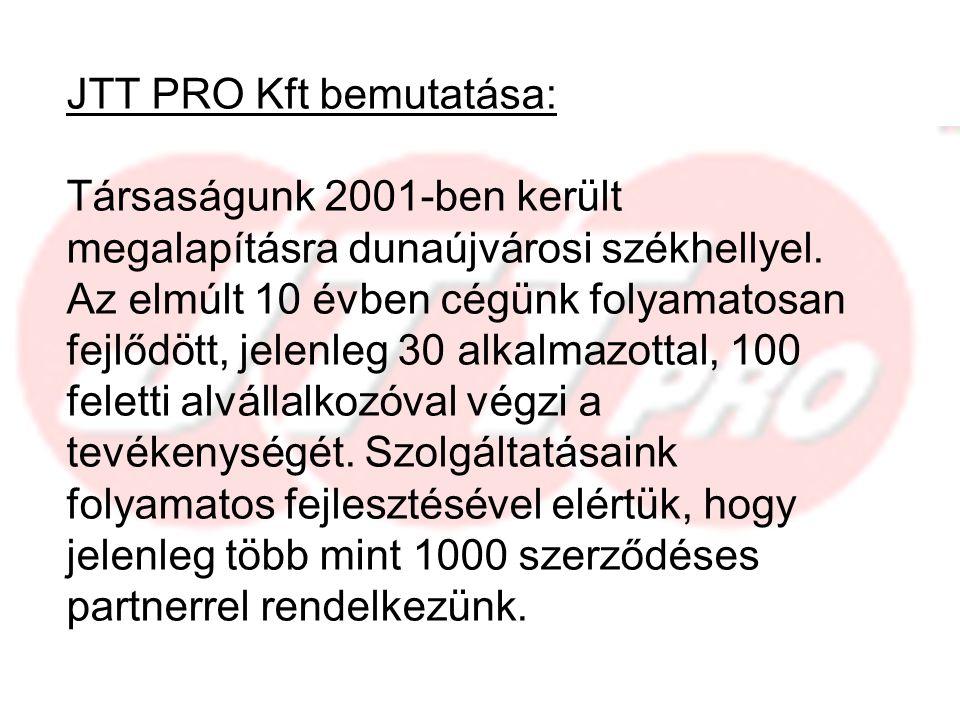 JTT PRO Kft bemutatása: Társaságunk 2001-ben került megalapításra dunaújvárosi székhellyel.