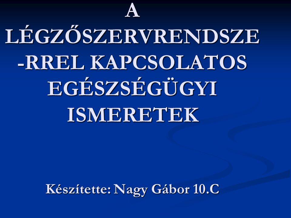 A LÉGZŐSZERVRENDSZE -RREL KAPCSOLATOS EGÉSZSÉGÜGYI ISMERETEK Készítette: Nagy Gábor 10.C