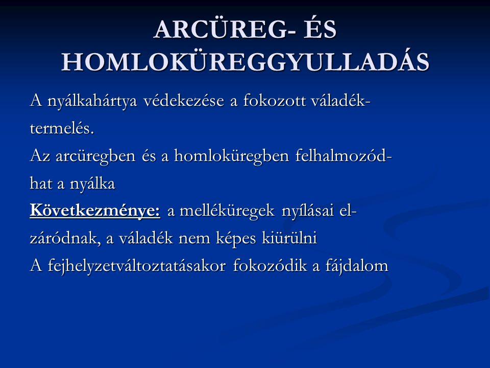 ARCÜREG- ÉS HOMLOKÜREGGYULLADÁS A nyálkahártya védekezése a fokozott váladék- termelés.